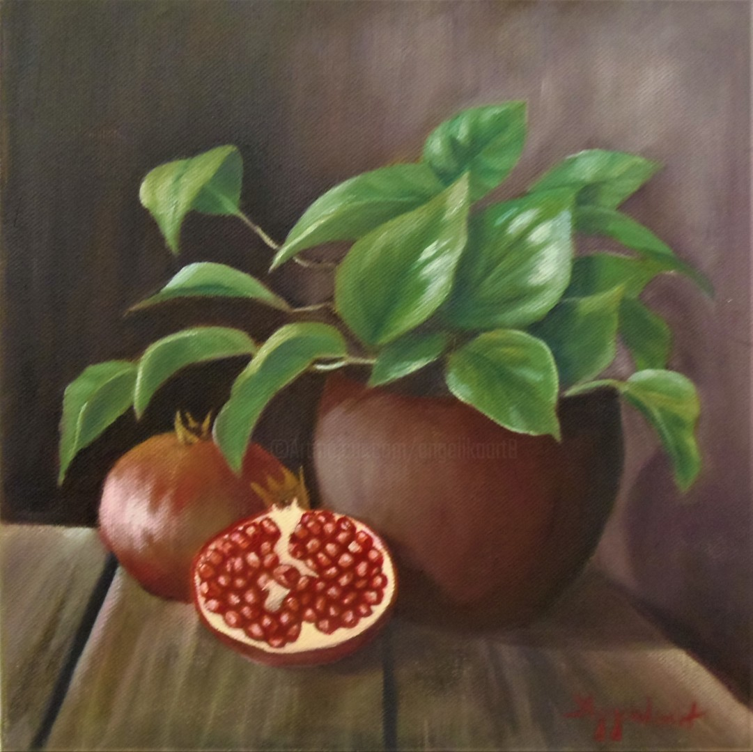 "Ageliki [Αγγελικη] - ""On a wooden table"", 29.5Χ29.5cm, oil on canvas"