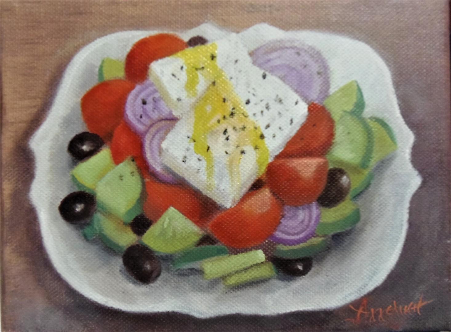 "Ageliki [Αγγελικη] - ""Greek salad"" by Ageliki, 15X20cm, oil on canvas"