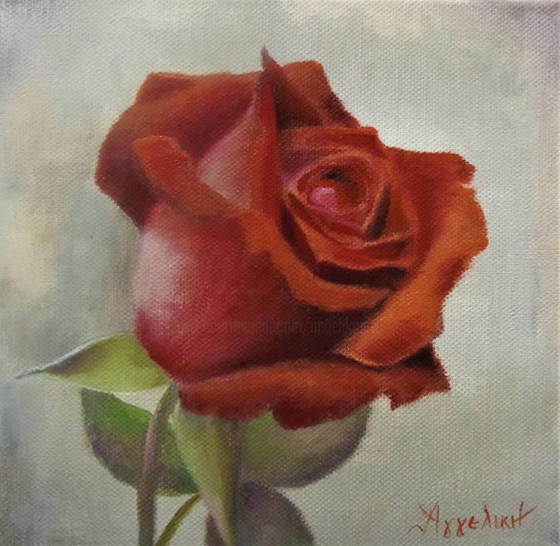 Ageliki [Αγγελικη] - Tender love by Ageliki, 20X20cm, oil on canvas