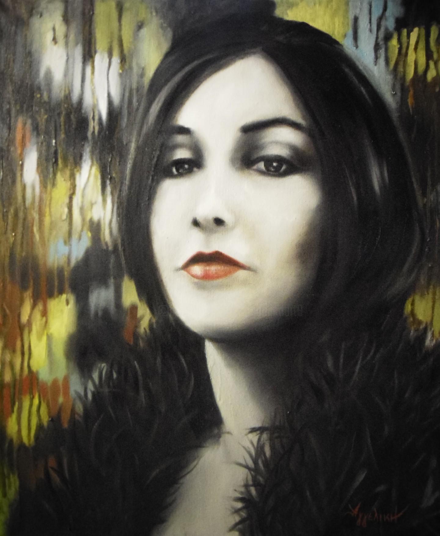 Ageliki [Αγγελικη] - White clown by Ageliki, 50X60cm, oil on canvas