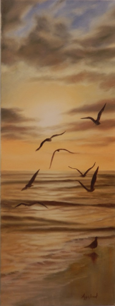"""Seagulls at sunset"""