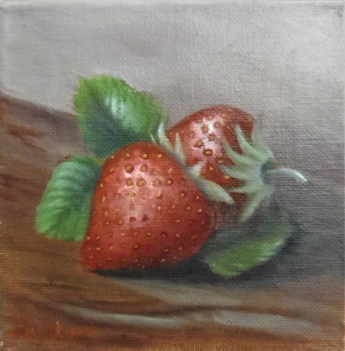 Ageliki [ΑγγελικΗ] - Red delicacies, 15X15cm, oil on streched canvas