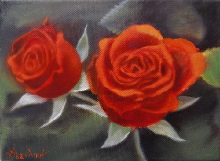 Ageliki [ΑγγελικΗ] - Two roses by Ageliki, 15X20cm, oil on canvas