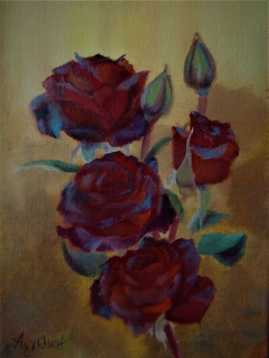 Ageliki [ΑγγελικΗ] - Branch of roses by Ageliki, 18X24cm, oil on canvas