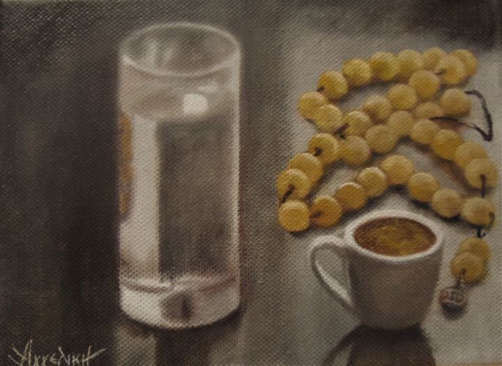 Ageliki [ΑγγελικΗ] - Time for coffe by Ageliki, 15X20cm, oil on canvas