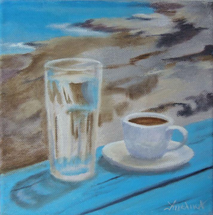 Ageliki [ΑγγελικΗ] - Greek morning! by Ageliki, 20X20cm, oil on canvas