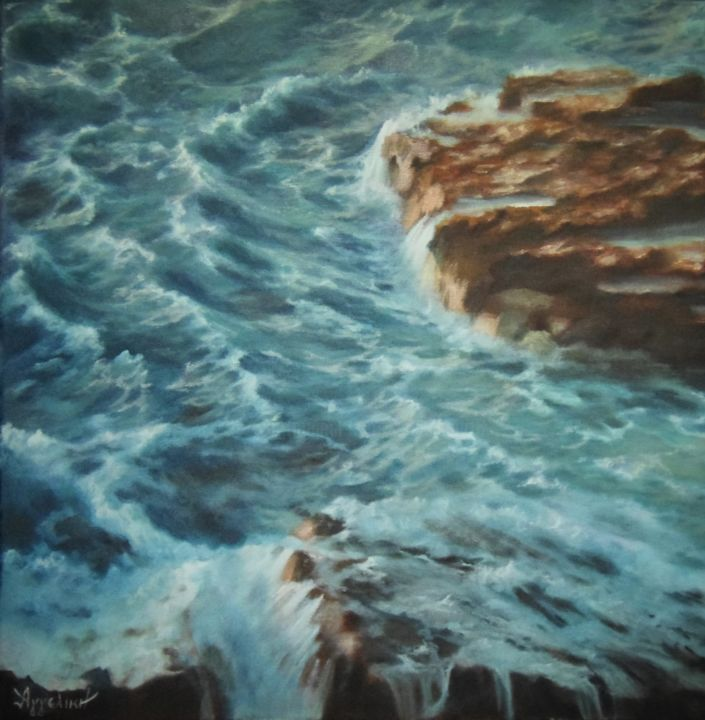 "Ageliki [ΑγγελικΗ] - ""Unrest"" by Ageliki, 50X50cm, oil on canvas"